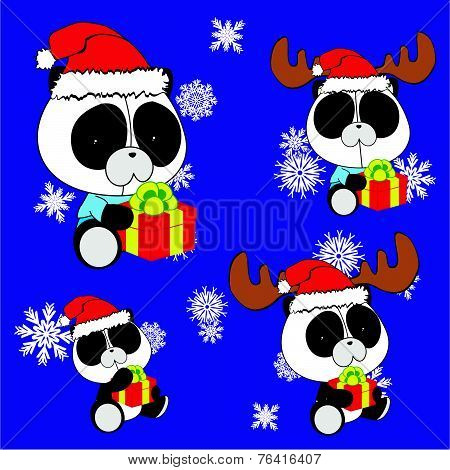 sweet xmas panda baby cartoon set