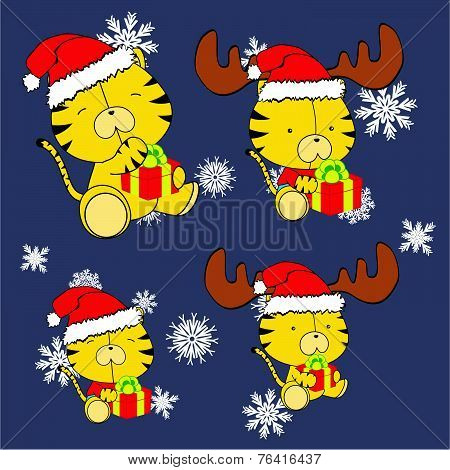 sweet xmas tiger baby cartoon set