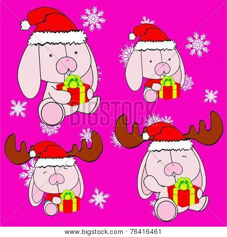 sweet xmas bunny baby cartoon set