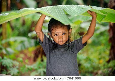 Child in a rain