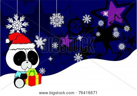 panda bear baby cartoon xmas background
