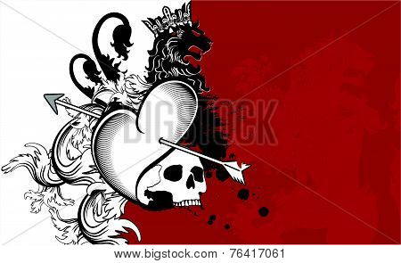 heraldic heart arrows crest background6