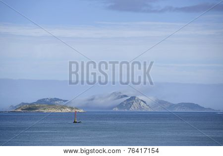 View of Cies islands in spain, galician coastline