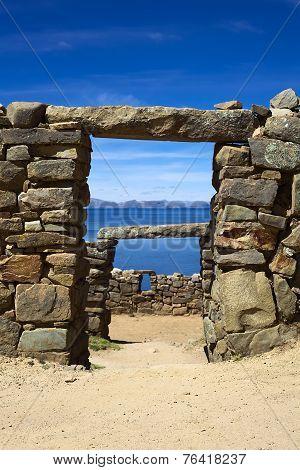 Ruins of Chinkana on Isla del Sol on Lake Titicaca, Bolivia