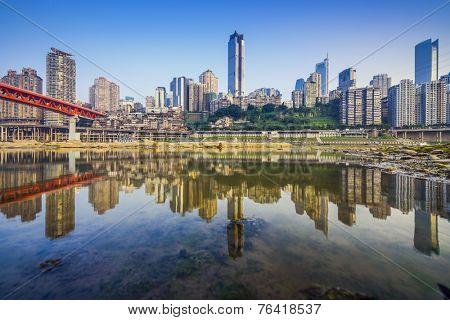 Chongqing, China city skyline on the Jialing River.