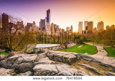 New York City cityscape view from Central Park.