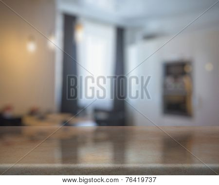 wooden table in the kitchen