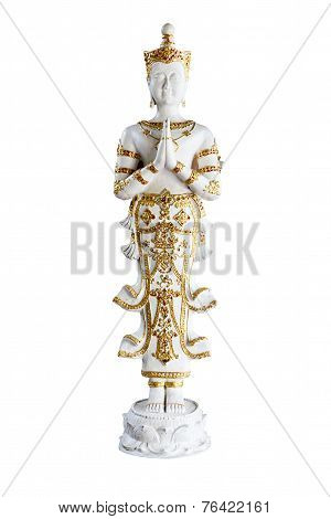 Angel Statue Isolated On White Background.