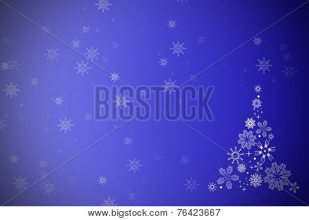 Christmas Background With A Tree And Snow