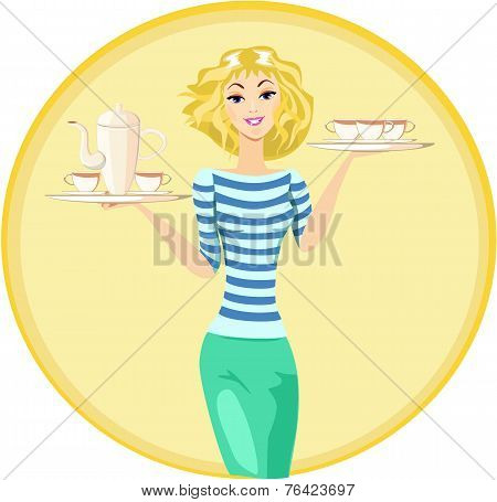 Waitress Carrying a Tray with Cups of Coffee and Tea, Vector