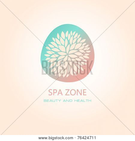 Vector illustration with floral symbol. Logo design.  For beauty salon, spa center, health clinic