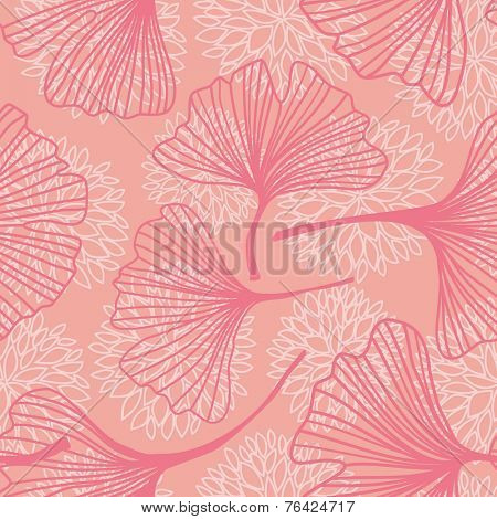 Floral seamless pattern with ginkgo leaves.Vector illustration.
