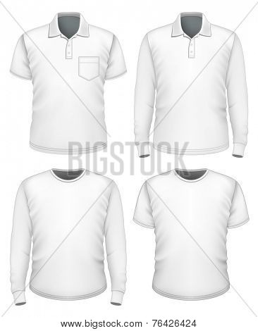 Set of men's white short and long sleeve clothes. Vector illustration.