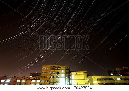 Stars Timelapse Under The City Of Sofia, Bulgaria.