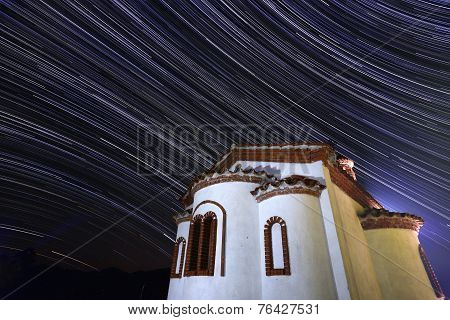 Stars Timelapse Of A Church