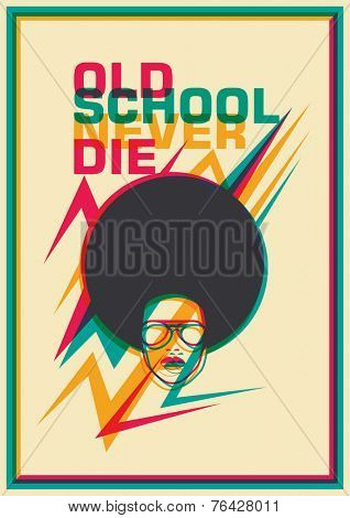 Retro funky poster. Vector illustration.