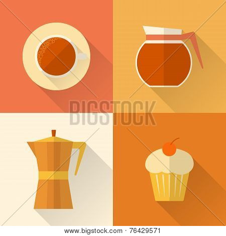 Flat coffee icons set