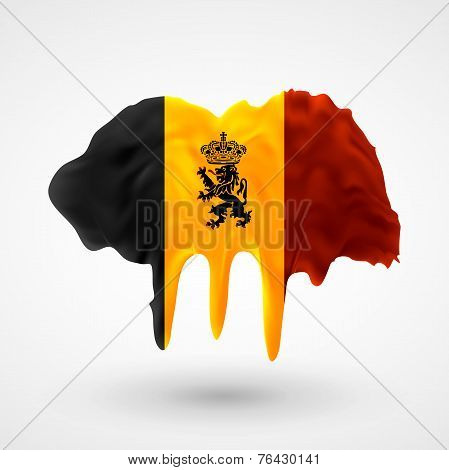Flag of Belgium painted colors
