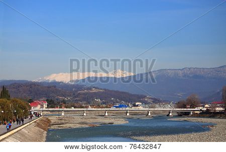 river Mzymta in Adler, the southest district of Sochi