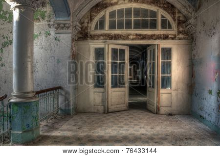 Old Lobby In An Abandoned Hospital