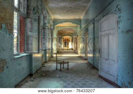 Age Corridor In The Old Hospital Beelitz