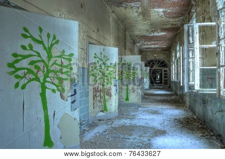 Corridor In An Abandoned Hospital In Beelitz
