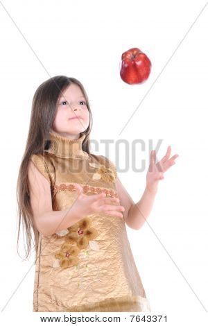 Girl Catches Apple