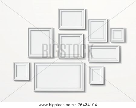 Blank Picture Frames Set Isolated On White
