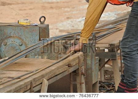 Steel bar bending yard