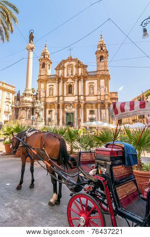 San Domenico Square And Church In Palermo, Italy