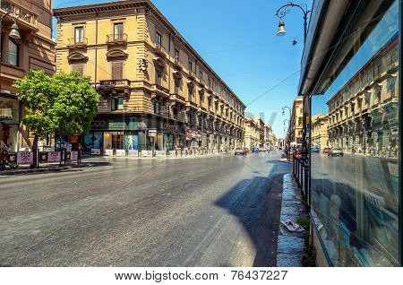 Famous Via Roma In Palermo, Sicily, Italy
