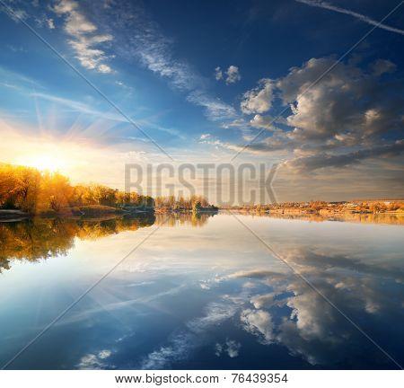 Blue sky over river