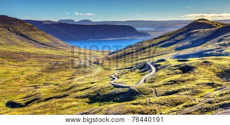 Scenic view of Westfjords in Iceland with a winding road