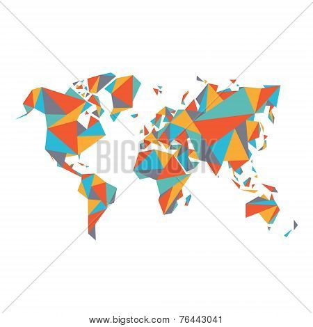 Abstract World Map - Vector illustration - Geometric Structure in flat color for presentation, bookl