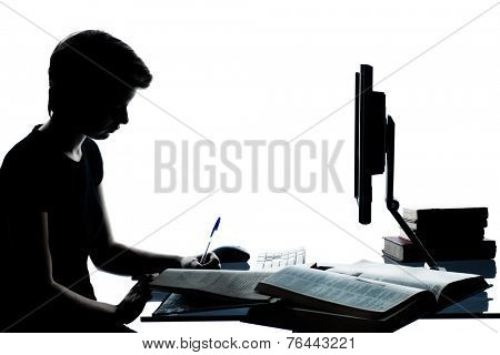 one  young teenager silhouette boy or girl studying with computer computing laptop in studio cut out isolated on white background