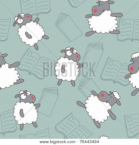 Clever and silly black sheep seamless pattern