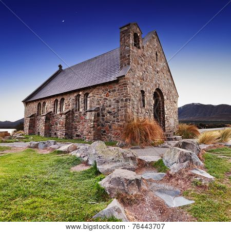 Church of the Good Shepherd at sunrise, Lake Tekapo, New Zealand
