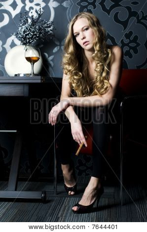Blonde With Cigar