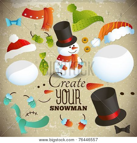 Create your snowman. Set of elements for collage