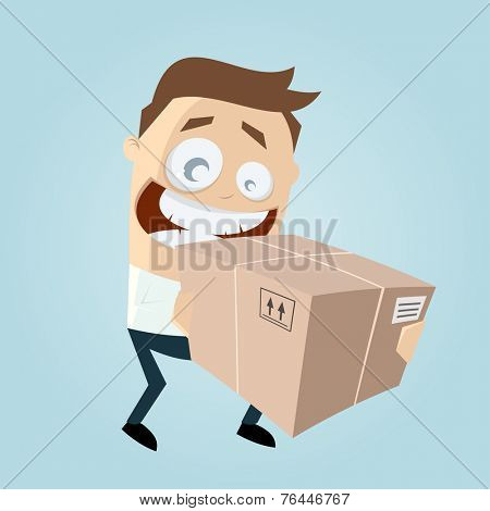 funny businessman is delivering a package