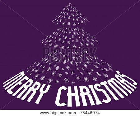 Christmas tree from snowflakes with text