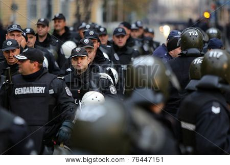 Policemen At An Anti-government Protest