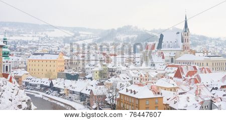 Cesky Krumlov, Czech Republic. The town from the castle  at the time of snowfall.