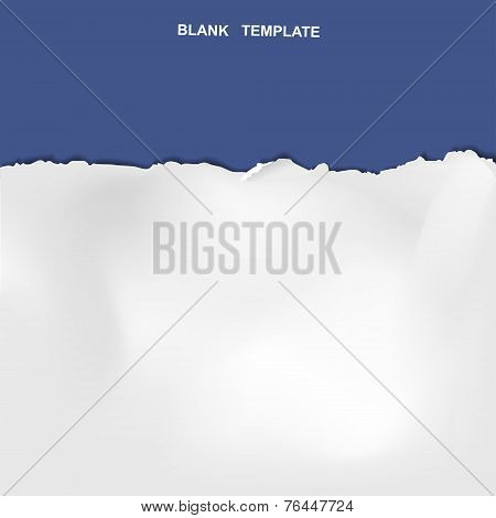 Ripped Paper Template Isolated On Blue