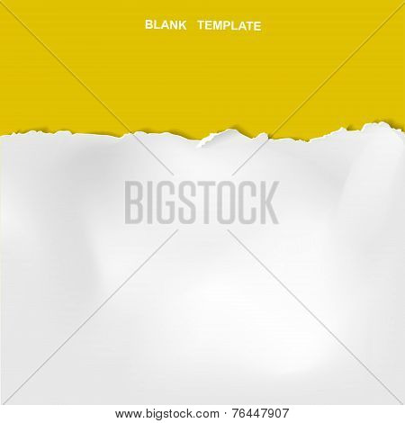 Ripped Paper Template Isolated On Yellow