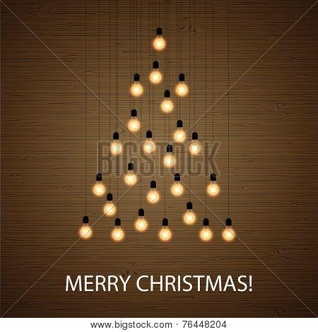 Christmas Bulb Lights Arranged Of Christmas Tree