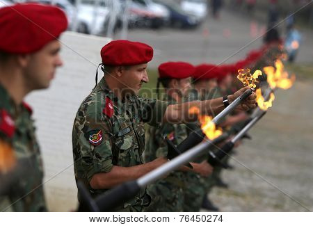 Bulgarian Troopers With Torches