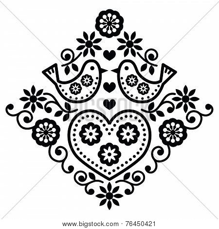 Folk art floral black vector pattern with birds
