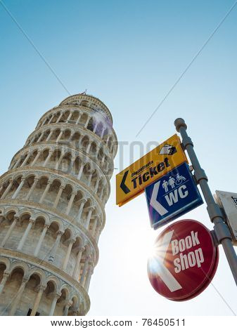The Leaning Tower of Pisa in Italy with guideposts used in tourist places: ticket, book shop, wc.