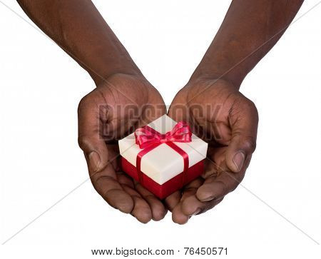 Man holding a gift box in hands isolated on white background